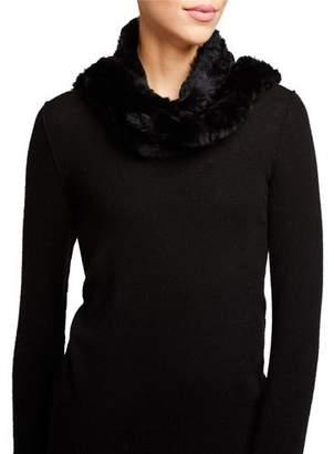 Belle Fare Knit Rabbit Fur Hooded Scarf