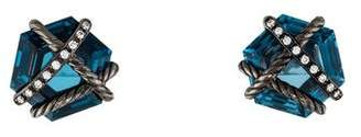 David Yurman Hampton Blue Topaz & Diamond Cable Wrap Earrings