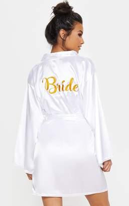 PrettyLittleThing White Bride Embroidered Back Satin Robe