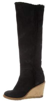 Chanel Knee-High Wedge Boots