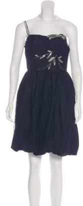 Anna Sui Beaded One-Shoulder Dress Black Beaded One-Shoulder Dress