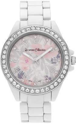 Journee Collection Women's Crystal Flower Watch