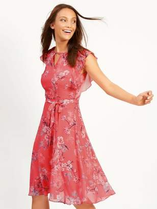 M&Co Floral print frill sleeve fit and flare dress