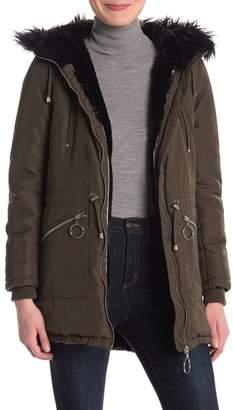 Steve Madden Hooded Faux Fur Lined Jacket