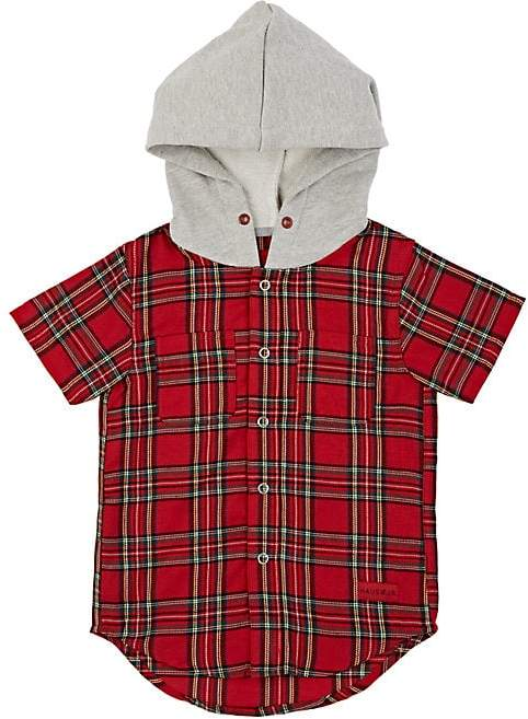 Haus of JR Kids' George Cotton Flannel Hooded Shirt