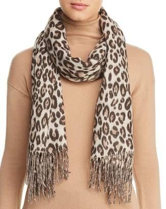 Aqua Fringed Leopard Print Scarf - 100% Exclusive