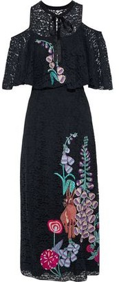 Temperley London Farewell Cold-Shoulder Embroidered Lace Midi Dress