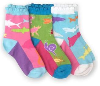 Jefferies Socks Girls Socks, 3 Pack Fashion Pattern Crew Socks (Little Girls & Big Girls)