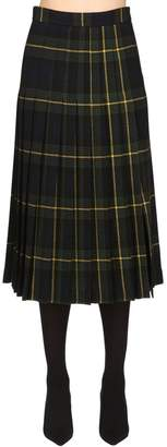 Moschino Wool Plaid Kilt Skirt