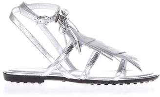 Tod's Multi Strap Silver Leather Sandals