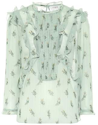 Coach Scribble Floral jacquard ruffle top