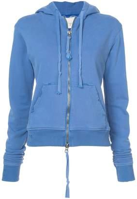 Greg Lauren zipped rear print hoodie