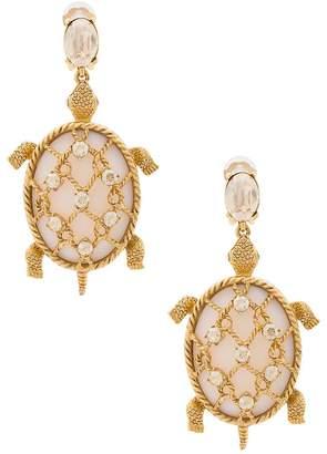 Oscar De La Renta Shell Turtle Earrings, Silvertone