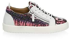 Giuseppe Zanotti Women's Snake-Embossed Leather Low-Top Sneakers