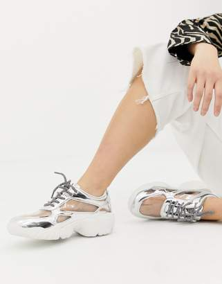 clear ASOS DESIGN Drench lace up sneakers