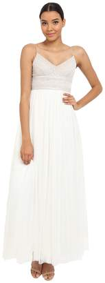 Adrianna Papell Sleeveless Beaded Bodice Tulle Gown Women's Dress