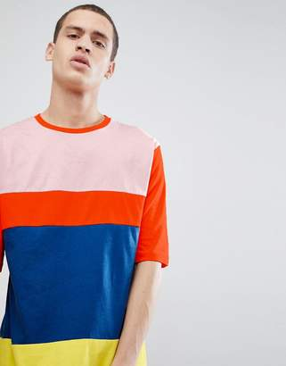 Asos DESIGN oversized t-shirt with half sleeve and bright color block