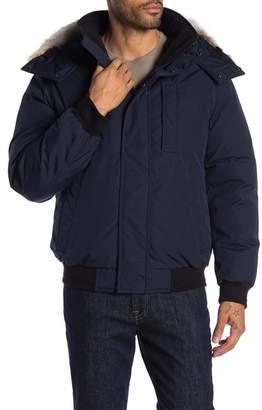 Andrew Marc Genuine Coyote Fur Trim Hooded Jacket