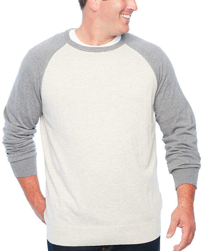 THE FOUNDRY SUPPLY CO. The Foundry Big & Tall Supply Co. Crew Neck Long Sleeve Pullover Sweater - Big and Tall
