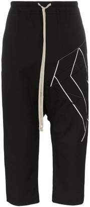 Rick Owens embroidered cropped cotton blend trousers