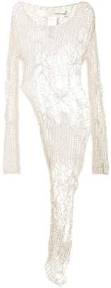 Isabel Benenato open knit asymmetric blouse