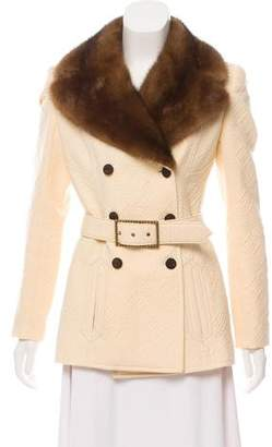 Valentino Double-Breasted Mink Collar Jacket