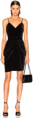 Brandon Maxwell Velvet Mirror Pleat Sweetheart Mini Dress