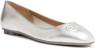 Salvatore Ferragamo Broni 10 metallic silver leather ballerinas