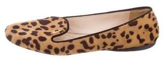 Prada Patterned Pony Hair Loafers