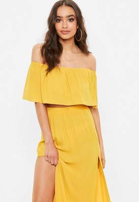Missguided Yellow Frill Bardot Crop Top