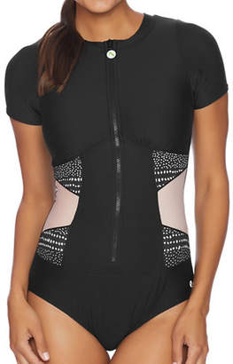 Next One-Piece Malibu Short-Sleeve Removable Soft Cup Zip Swimsuit
