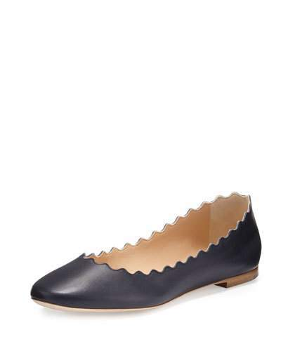 Chloé Scalloped Calfskin Ballerina Flat, Navy
