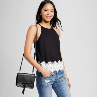 Necessary Objects Women's Lace Trim Halter Tank Black $39.99 thestylecure.com