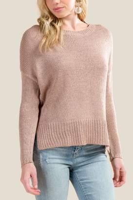 ba7578252e at Francesca s · francesca s Nico Elbow Patch Step Hem Sweater - Rose