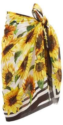 Dolce & Gabbana Sunflower Print Cotton Sarong - Womens - Yellow Print