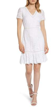 Karl Lagerfeld Paris White Lace Fit & Flare Dress