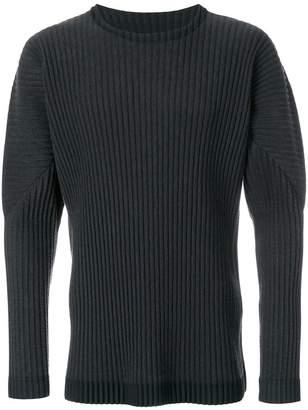 Issey Miyake Homme Plissé rib knit crew neck sweater