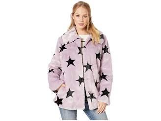 AVEC LES FILLES Star-Patterned Faux Fur Swing Coat Women's Coat