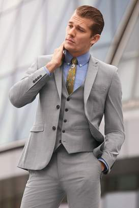 Next Mens Light Grey Tailored Fit Wool Blend Stretch Suit: Jacket - Grey