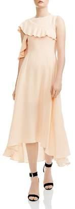 Maje Rivole Ruffled High/Low Midi Dress