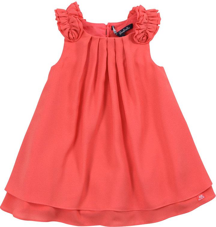 Lili Gaufrette Lias Pleated Crepe Dress, Papaye, 2Y-6Y