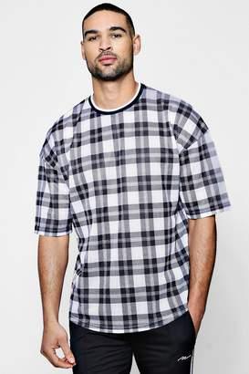 boohoo Check Print Mesh T-Shirt