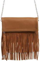 Ten79LA Fringe Leather Foldover Crossbody Bag