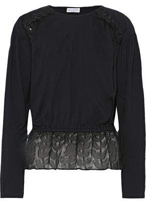 Sonia Rykiel Sequin-embellished Cotton-jersey And Fil Coupe Silk-organza Top