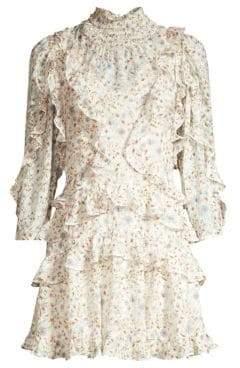 Rebecca Taylor Women's Vivianna Floral Ruffle A-Line Dress - Cream Combo - Size 12