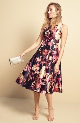 Adrianna Papell Women S Floral Print Mikado Midi Dress