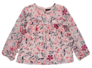 George Pink Floral Ruffle Front Long Sleeve Top