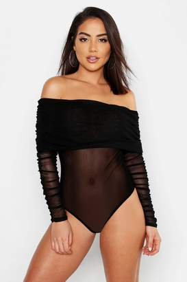 boohoo Mesh Ruched Off The Shoulder Bodysuit