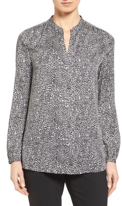 Nordstrom Collection Split Neck Print Stretch Silk Blouse $228 thestylecure.com