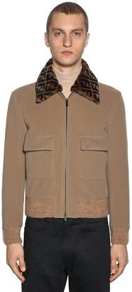 Fendi Wool Bomber Jacket W/logo Fur Collar